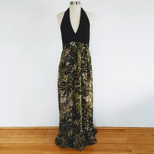 Tadashi | Green Leaves Crochet Top Halter Dress